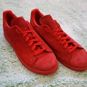 Men's Red Suede Stan Smith Sneakers - Size 13